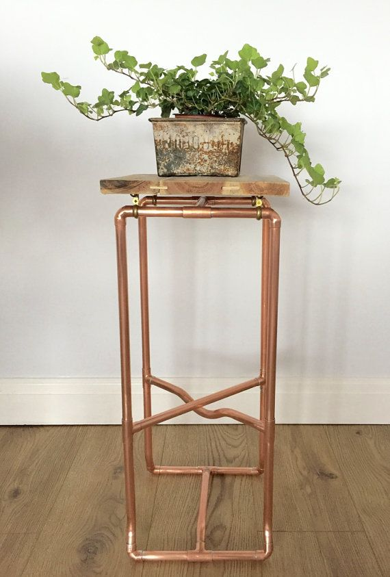 Industrial Copper Pipe Plant Stand and Table  by PlankandPipe