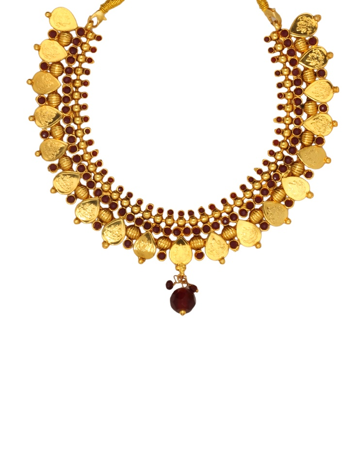 Golden Goddess Lakshmi Necklace Set - JWST3664