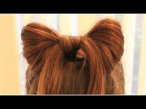 ハーフアップで簡単リボンヘア Half up hair Bow - YouTube