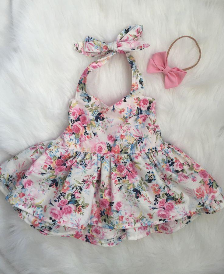 Baby girl summer white floral sweetheat halter shirred dress by BabyLuciBows on Etsy https://www.etsy.com/listing/499875893/baby-girl-summer-white-floral-sweetheat