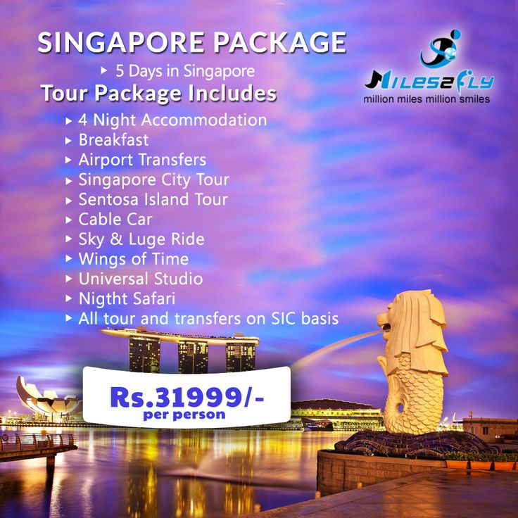 Get best deals on Singapore Tour Package at #Miles2fly.com. Our dedicated service & competitive price will make you experience the best holiday magic ...  Tour Package Includes, #4 Night Accommodation #Breakfast #Airport Transfers #Singapore city tour #Sentosa Island Tour #Cable car #Sky & Luge ride #Wings of time #Universal Studio #Night Safari  #All tour and transfers on SIC basis  Click to book best Singapore Tour packages & get exciting deals…