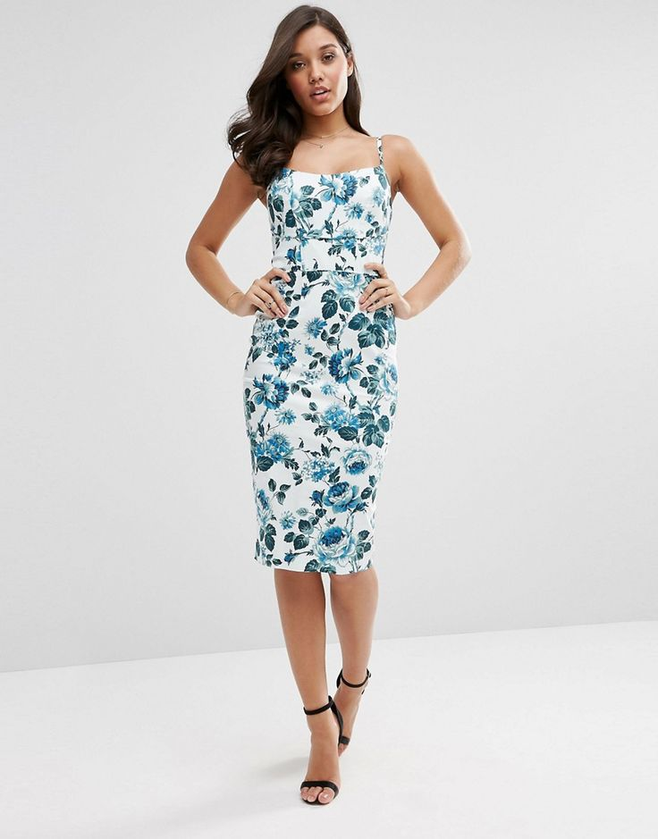 Image 1 of ASOS Hitchcock Midi Pencil Dress In Blue Floral