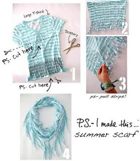Recycle t-shirt into scarf: Summer Scarves, Ideas, T Shirts Scarves, Summer Scarfs, Old Shirts, Tshirt, Diy, Crafts, Old T Shirts