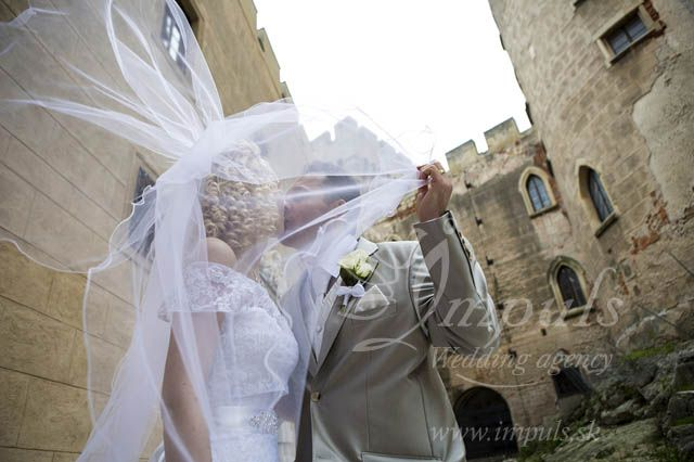 Blown with the wind at #Bojnice #castle #wedding, #Slovakia, May 2014. Veil in the wind of the castle courtyard.