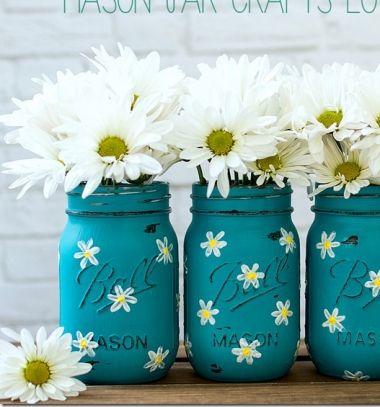 DIY Painted spring daisy mason jar vase - recycling craft // Virágos tavaszi váza befőttes üvegből házilag (újrahasznosítás) // Mindy - craft tutorial collection