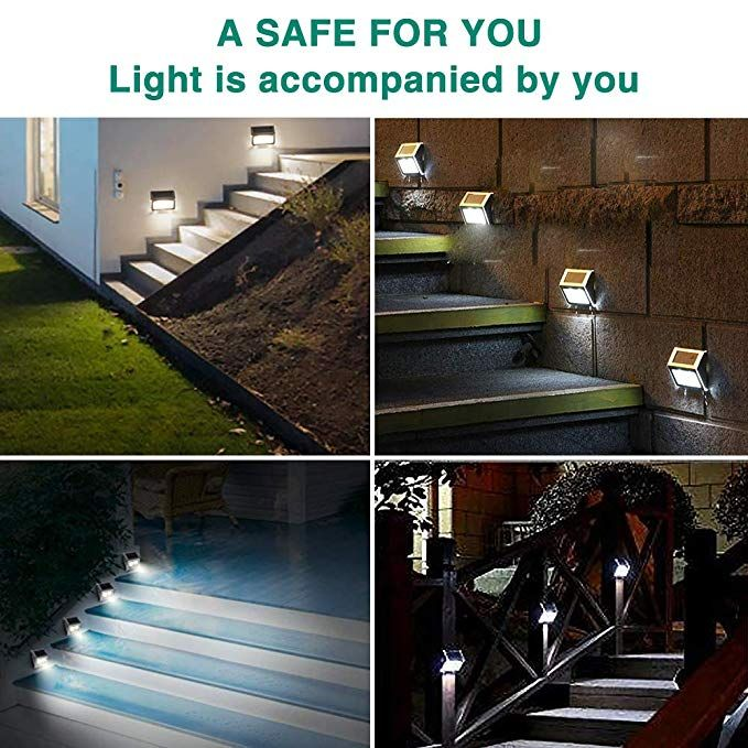 Amazon Com Jsot 6 Pack Solar Deck Lights Bright 3 Led Stair Lights Auto On Off Waterproof Stainle Step Lighting Outdoor Outdoor Solar Lamps Solar Deck Lights