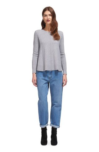 Boiled Wool Trapeze Knit, in Grey Marl on Whistles