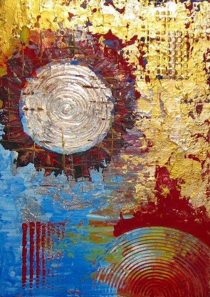 Silbermond  - XXL - Leinwand von *zeitgenössische kunst von maria-mercedes* auf DaWanda.com