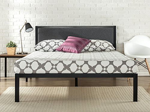 This steel framed platform bed with grey upholstered headboard by Zinus  features wooden slats that provide strong support for your memory foam   latex. Best 25  Metal bed frame queen ideas on Pinterest   Ikea bed