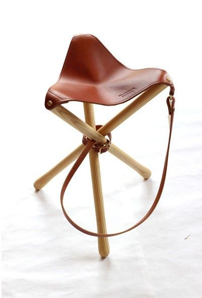The Wood & Faulk Tripod Camp Stool is made in the US of ash and English bridle leather and weighs 2.5 pounds; $165 from Sanborn Canoe Compan...