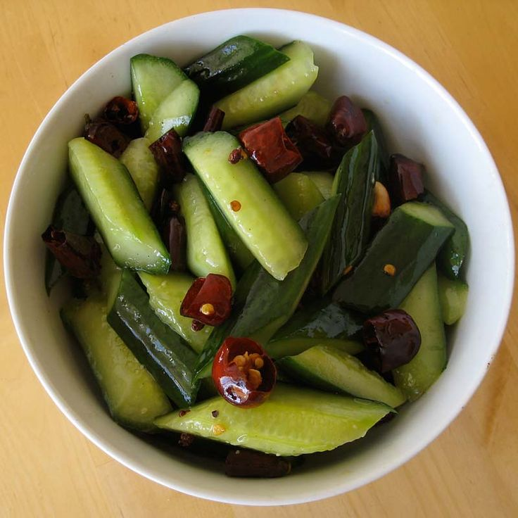 Sichuan style stir-fried cucumber salad.