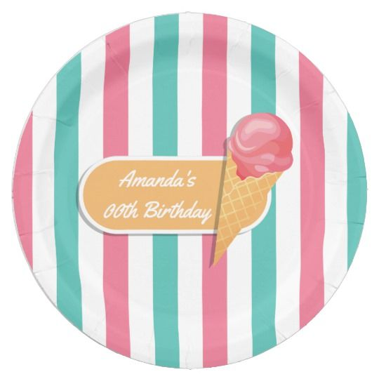 Ice Cream Birthday Party personalized Paper Plate