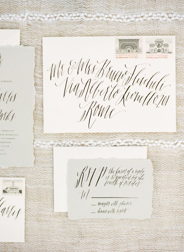Beautiful stationery + calligraphy by The Weekend Type || Ruffled Blog