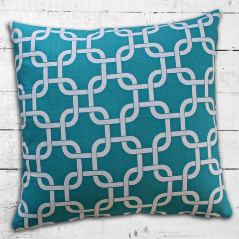 Cushions from Cushionopoly - Linked Aqua cushion cover. From the Beach House collection