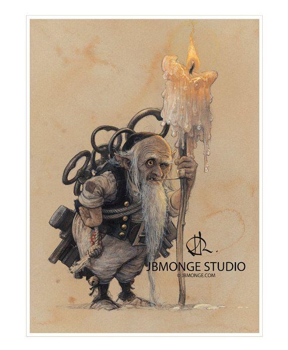 SIGNED Fine Art Print  KEYKEEPER  small by StudioJBMongeGoblin