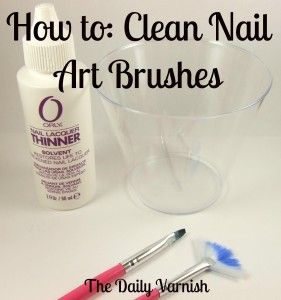 How to clean nail art brushes, also there are links for how to do your own nail strips and save dried out polish