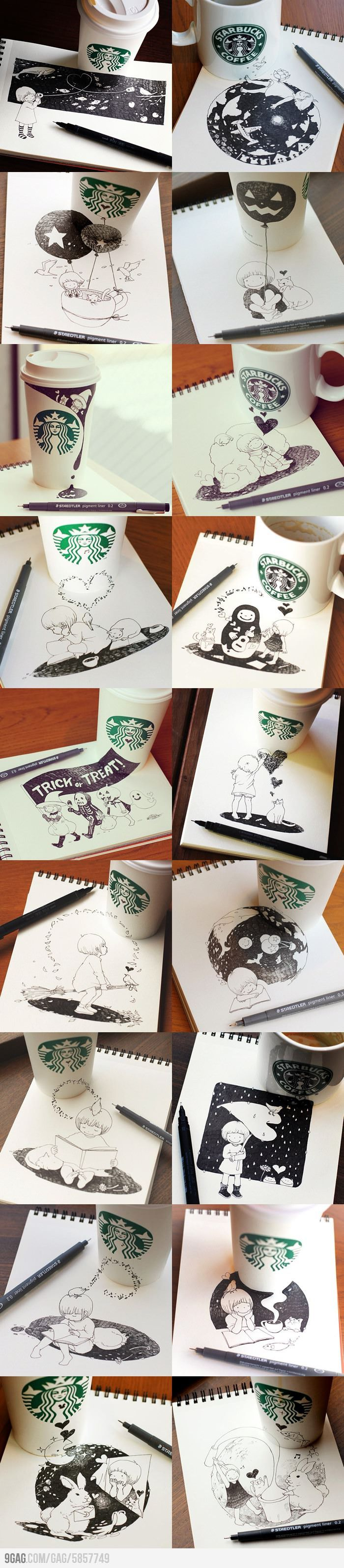 Awesome Starbucks Drawings by Tomoko Shintani