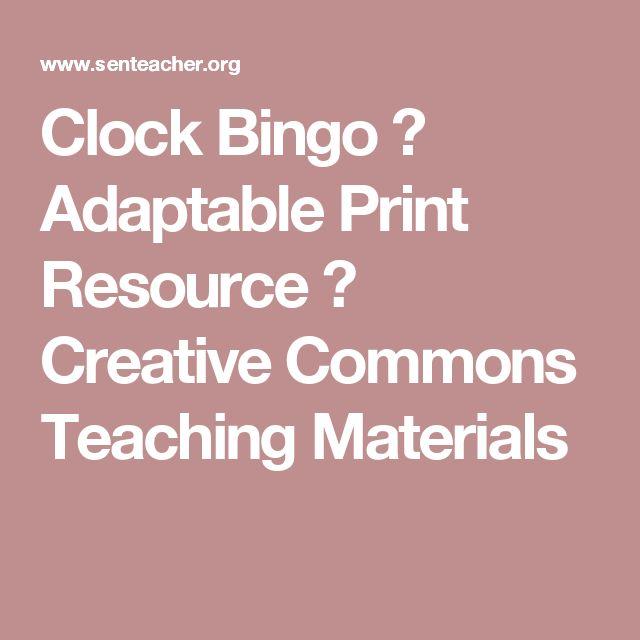 Clock Bingo ⋆ Adaptable Print Resource ⋆ Creative Commons Teaching Materials