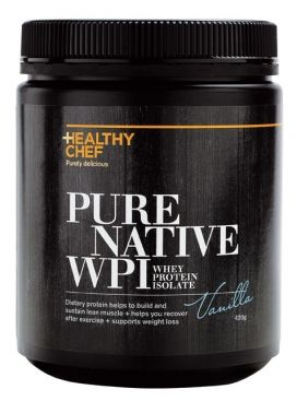 HEALTHY CHEF PURE NATIVE WHEY PROTEIN ISOLATE is specifically designed to be the purest, bio-available source of protein that does not cause bloating or gastro-intestinal issues. It is low in fat, low in carbohydrates, high in protein and free of soy, sugar and gluten. Our WPI contains naturally occuring digestive enzymes making it lactose free, so it can be enjoyed by people who have an intollorance to lactose. Available in Vanilla, Chocolate + Natural  and comes in 1kg pouches or 420g Tub
