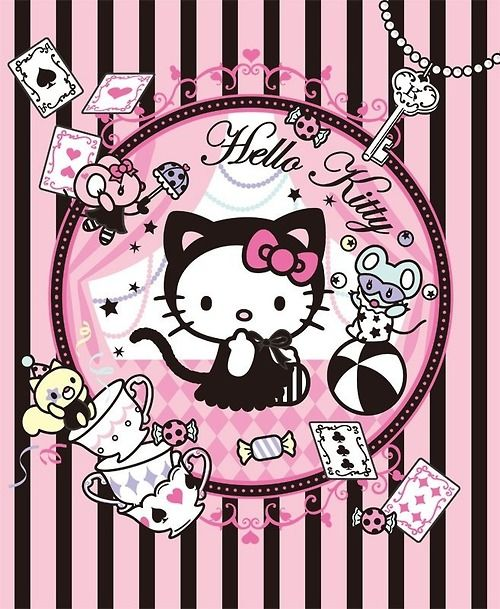 ♚◊ - Hello Kitty by 'Sanrio'♥ - ◊♚ cute art. . .tea cups. . .playing cards. . .poker suit. . .stripes. . .cute. . .kawaii
