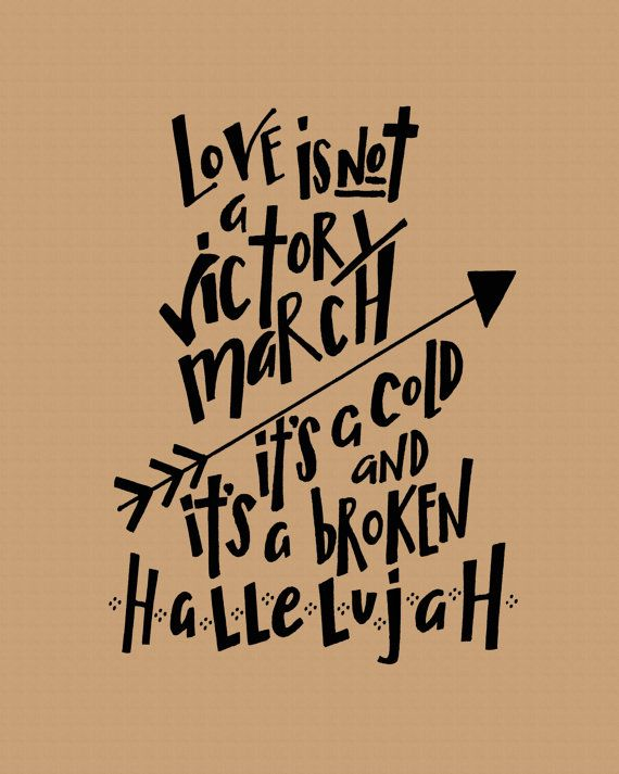 Love is Not a Victory March handlettered lyric by blesserheartart, $10.00