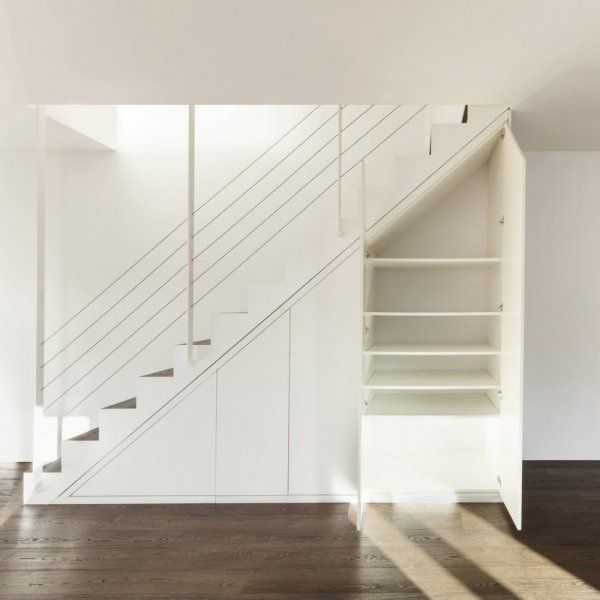 La place pour ranger est toujours ce qui manque dans une maison ou un appartement. Aménager l'espace sous votre escalier peut vous faire gagner des espaces de rangement, voire gagner une pièce !  L'escalier détermine l'usage de l'espace en dessous L'espace sous un escalier dépend de sa forme (escalier droit, à quart tournant, avec un palier.