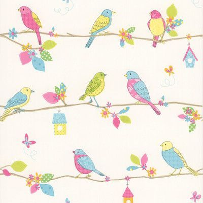 """Brewster Home Fashions Kids World Social Birdie  33' x 20.5"""" Quilted Birds Wallpaper Color:"""