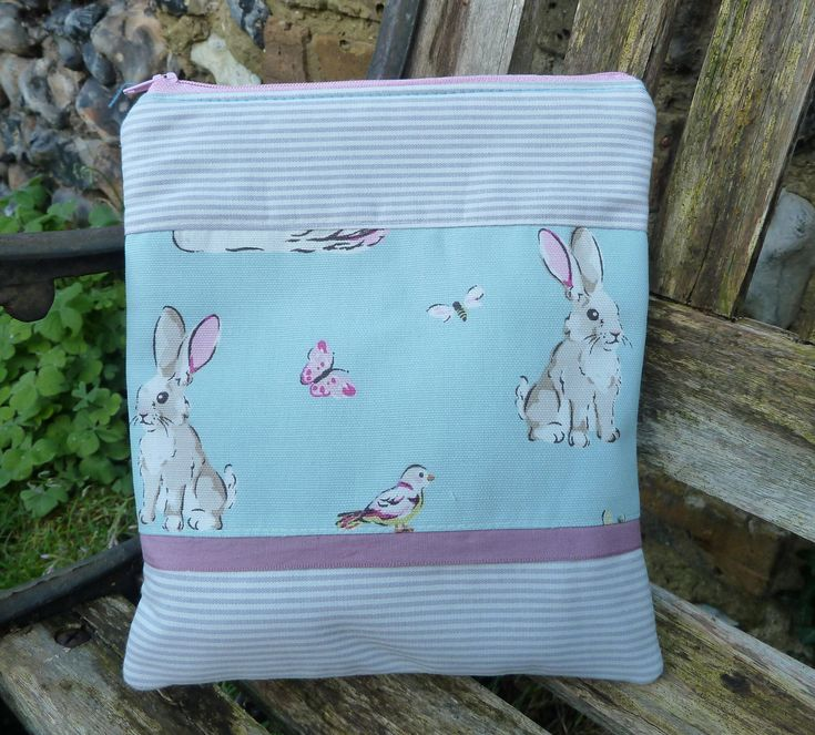 "Handmade Rabbit Makeup Bunny Pencil Case Rabbit Purse Approx 7.5"" by 9"" Made with Cath Kidston Fabric Knitting Crochet Project Bag Animal"