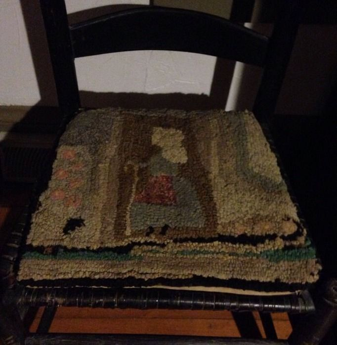 Antique Early Chair Antique American Folk Art Hooked Rug Chair Pad