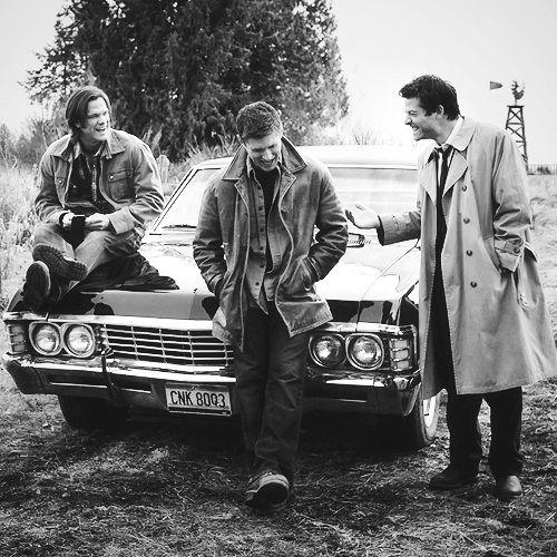black and white, boys, castiel, dean, dean winchester, impala, jared padalecki, jensen ackles, misha collins, sam, sam winchester, supernatural