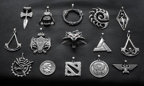 First Row: Amulet of Talos - Skyrim Darth Vader - Star Wars Elder Scrolls Online Zerg Symbol - Starcraft Elder Scrolls Series: Imperial Legion.   Second Row: Assassin insignia - Assassin's Creed Alliance Seal - World of Warcraft Medallion of Wolf Head - Witcher Abstergo Industries Symbol - Assassin's Creed Assassin's Creed: Black Flag Insignia  Third Row: Mark Of The Outsider - Dishonored Septim - Elder Scrolls Series Dota 2 Saint's Row Imperial Aquila - Warhammer 40k