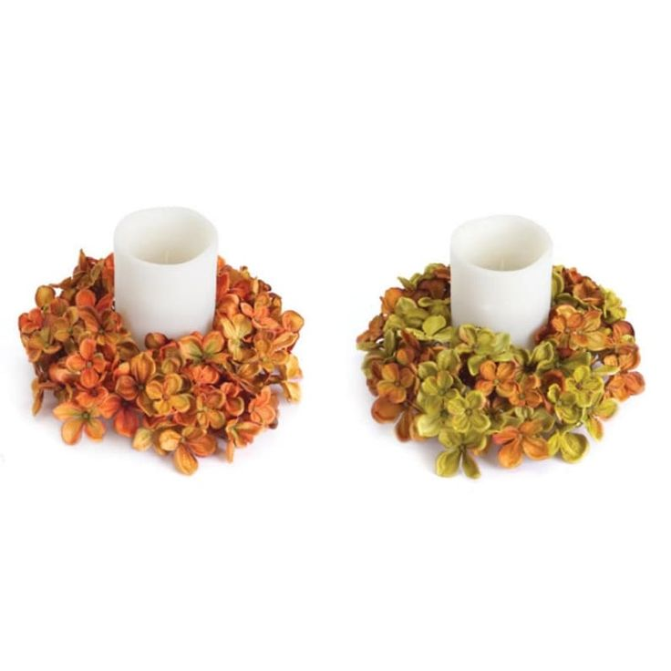 Pack of 6 Thanksgiving Fall Harvest Artificial Hydrangea Pillar Candle Rings 9, Multi