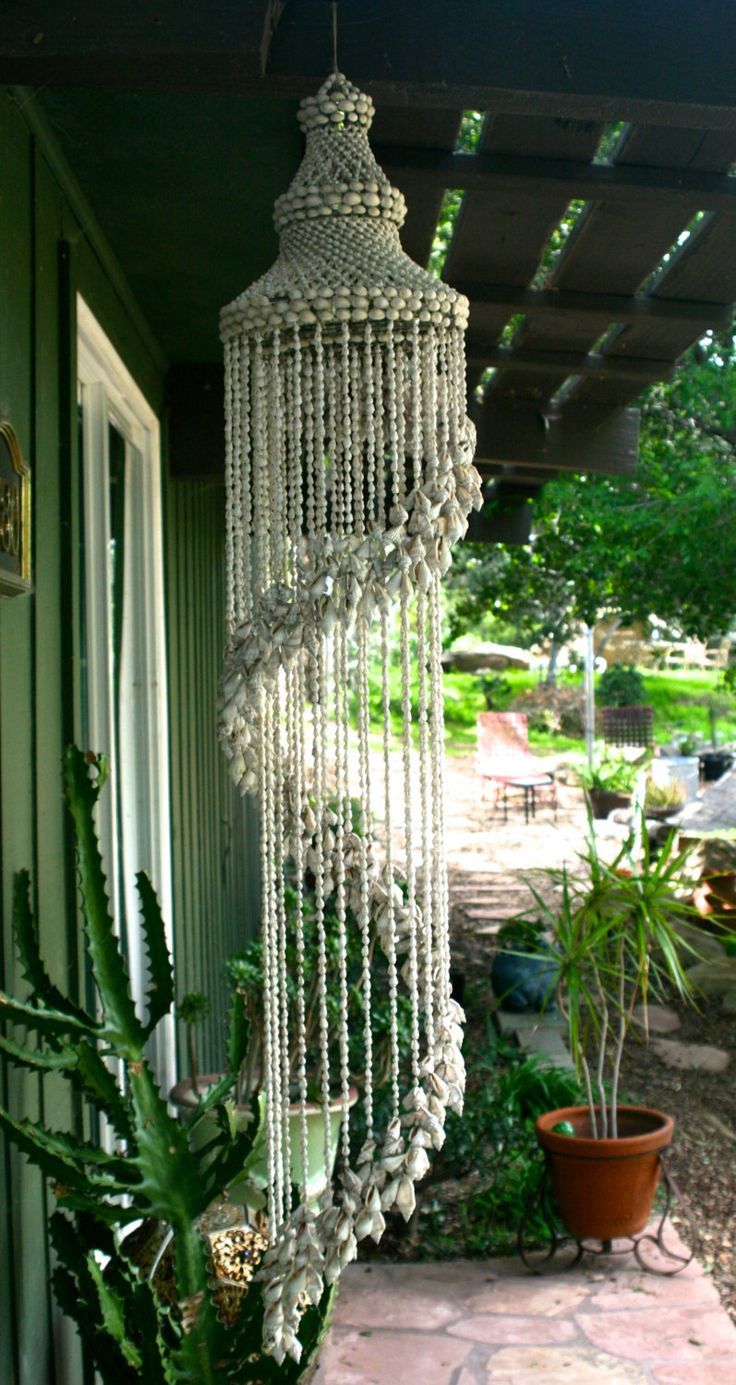 Vintage Cascading Shell Chandelier Wind Chime. by TheOldGreenGarage on Etsy