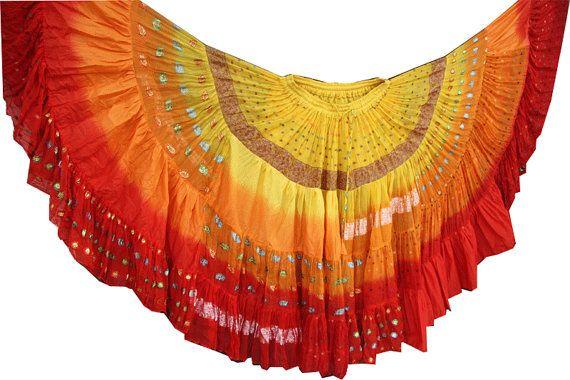 Circonferenza 25 yarde di danza del ventre Tribal Bollywood 4 tier 3 tono gonna
