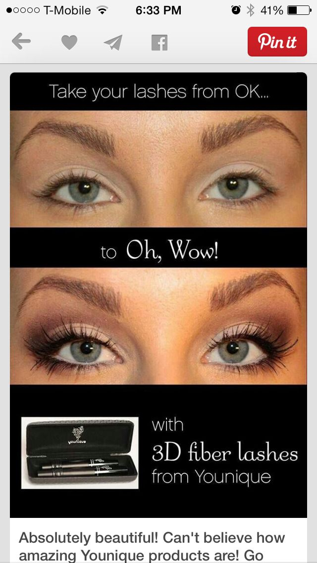 Before and after with youniques 3D fiber lashes! Not false lashes. Wouldn't you love to have lashes like these!! Get them today at www.youniqueproducts.com/meganschneier