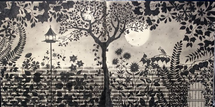 Secret Garden Johanna Basford. Coloured in monochrome by Prue from Colouring+with Prue.