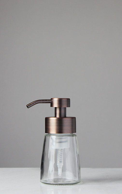 Foaming Soap Dispensers | Glass Foam Soap Dispensers | Copper Foaming Pumps | www.rail19.com | RAIL19