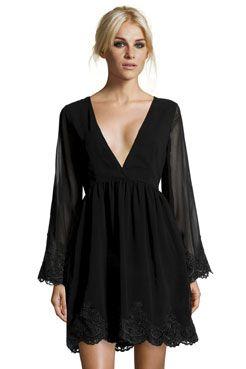 Boutique Emily Low V-Neck Lace Trim Dress at boohoo.com