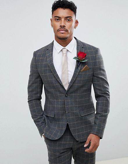 30359b014029 River Island suit jacket in dark gray check | Wedding styles ...