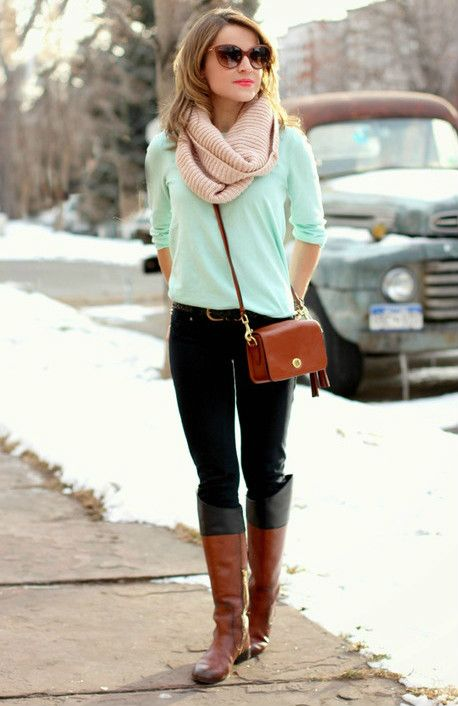mint shirt, neutral scarf, boots, bright lips and sunglasses. good transition to fall.