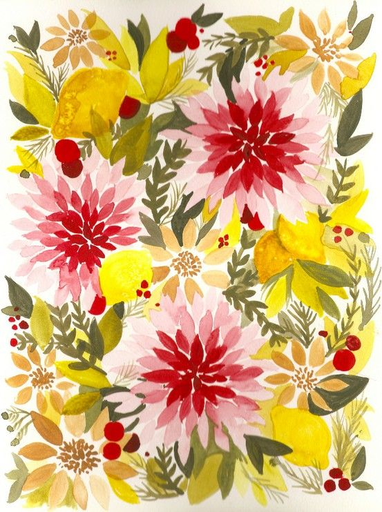Beautiful summer reds & yellows.: Paintings Flowers, Colors Combos, Design Illustrations, Floral Patterns, Floral Prints, Brittany Burton, Flowers Power, Colors Palettes, Beautiful Flowers