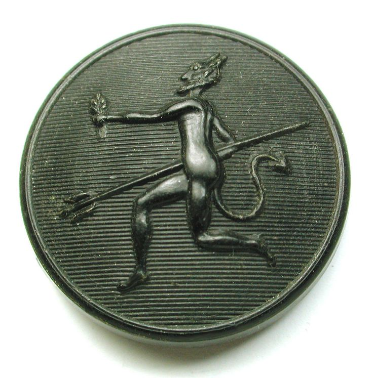 Antique Horn Button Image of Horned Devil w/ Pitch Fork 130