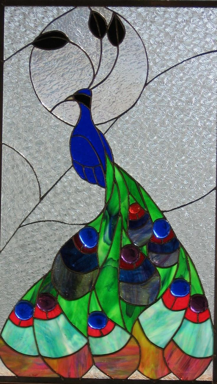 Peacock stained glass old window patio