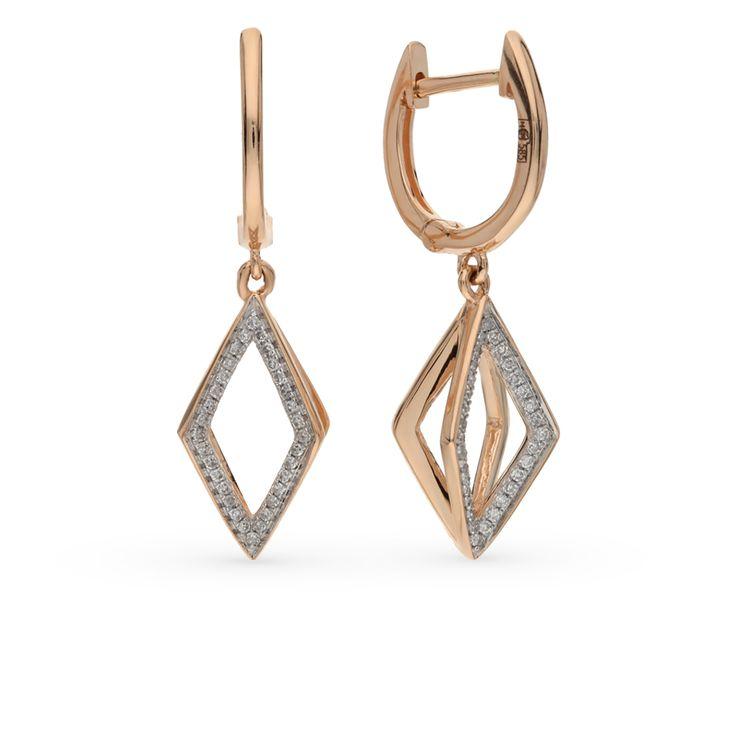 Золотые серьги с бриллиантами: розовое золото 585 пробы, бриллиант — купить в интернет-магазине SUNLIGHT, фото, артикул 45627