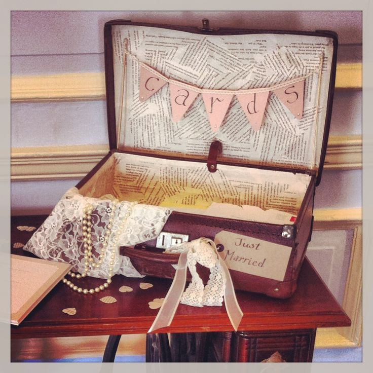 """Wedding Card Suitcase - love the """"just married"""" tag on it."""