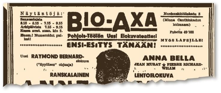 Bio Axan ilmoitus Helsingin Sanomissa elokuvateatterin avajaisviikolla 6. helmikuuta 1938.
