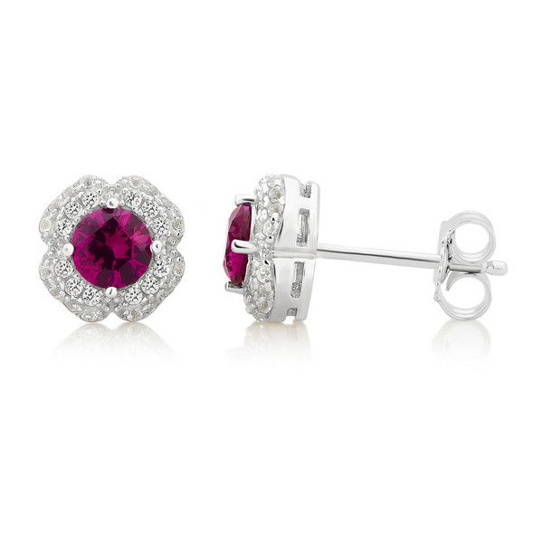 Gemstone Flower Stud in Sterling Silver by L'Artiste Stud Round 1.63... ($20) ❤ liked on Polyvore featuring jewelry, earrings, jewelry & watches, red, red stud earrings, sterling silver jewellery, ruby stud earrings, gemstone earrings and sterling silver jewelry