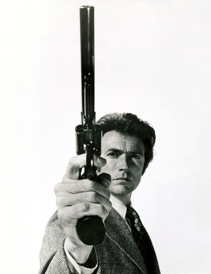 "The Smith & Wesson Model 29 is a six-shot, double-action revolver chambered for the .44 Magnum cartridge and manufactured by the U.S. company Smith & Wesson. It was made famous by — and is still most often associated with — the fictional character ""Dirty Harry"" Callahan from the Dirty Harry series of films starring Clint Eastwood."