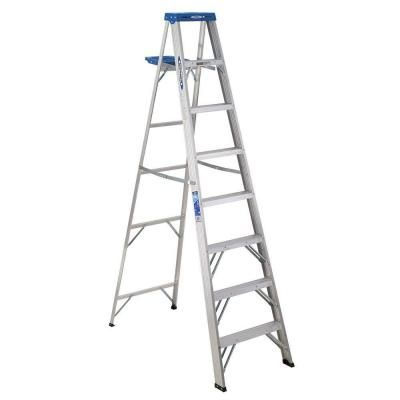 Werner 8 ft. Aluminum Step Ladder with 250 lb. Load Capacity Type I Duty Rating | Home Depot