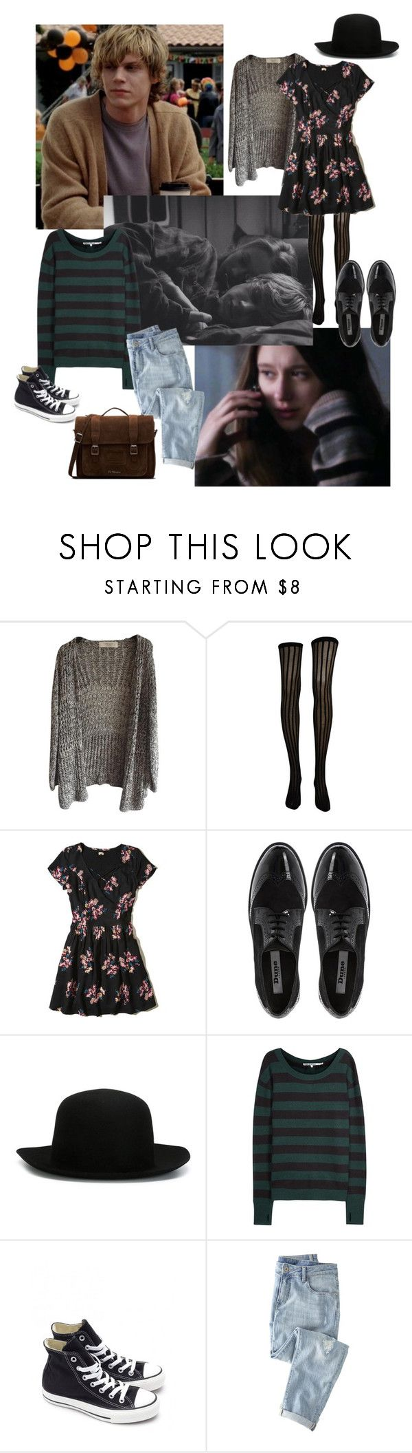 """tate and violet//american horror story"" by ellxelair ❤ liked on Polyvore featuring CO, Hollister Co., Dune, ISABEL BENENATO, Pam & Gela, Converse, Wrap, Dr. Martens, americanhorrorstory and violetharmon"